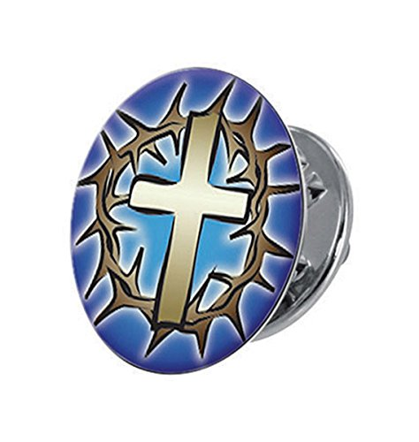 Silver Tone and Epoxy The Cross and Crown Lapel Pin with Clutch Back, 5/8 (Cross Crown Pin)