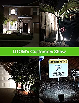 LITOM 12 LED Solar Landscape Spotlights, IP67 Waterproof Solar Powered Wall Lights 2-in-1 Wireless Outdoor Solar Landscaping Lights for Yard Garden Driveway Porch Walkway Pool Patio 2 Pack Cold White