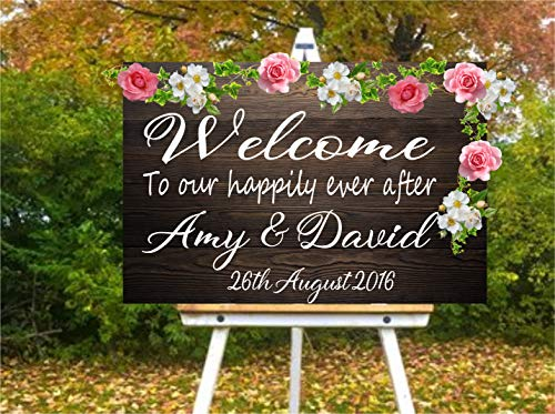 Dozili Personalised Wedding Party Welcome Sign Name and Date Mirror Board Wall Art Vinyl Decal Sticker 20
