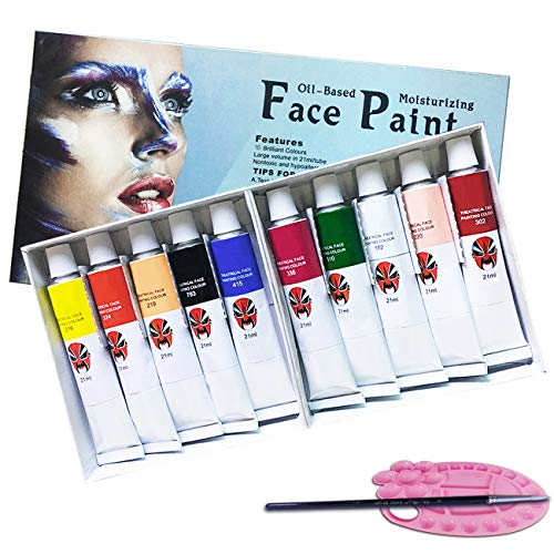 Magicdo Oil-Based Face Painting Kit with Brush and Palette, Washable Non-Toxic Moisturizing Body Paint for Halloween Costume Cosplay Parties(10 Colors x 0.7 Fl oz) -