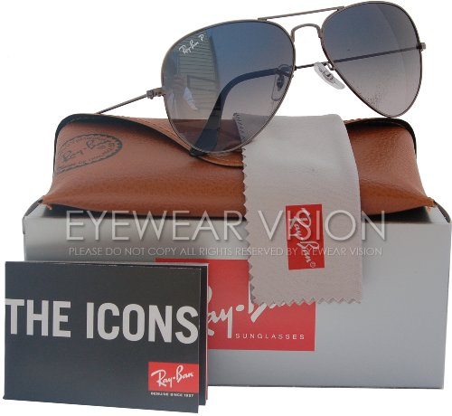 Ray-Ban RB3025 Aviator Polarized Sunglasses Gunmetal w/Blue/Grey Gradient (004/78) RB 3025 - Ban Gray Gradient Ray Blue