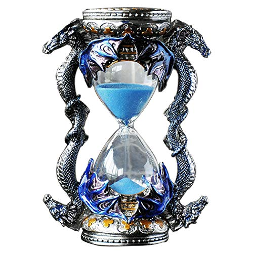 (YUNHAO Metal Hourglass 15 Minutes Timer Dragon Shaped Creative Ornaments Home Accessories Birthday Magnificent Majestic Ice and Fire A (Color : Blue))