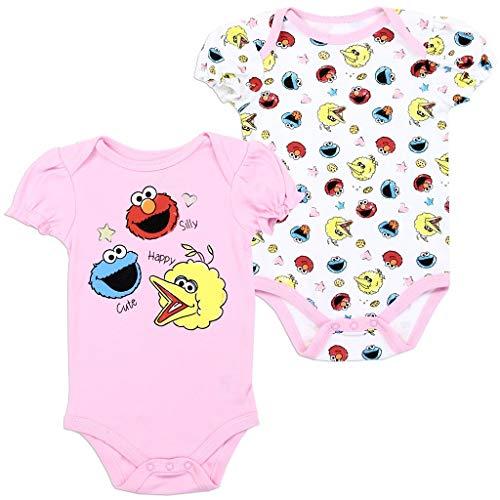 - Sesame Street Baby Girls' 2-Pack Creeper Set, Pink (3/6M)