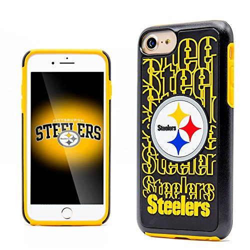 wireless Dream Impact Pittsburgh Steelers Dual Layer [Shock Absorbing] Protection Hybrid PC/TPU Rubber Case Cover For Apple iPhone 7, Black/Yellow ()