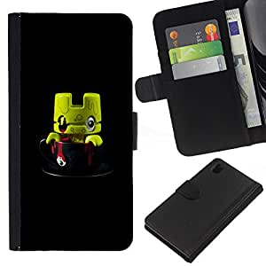BearCase / Cuero de la tarjeta la carpeta del tirón Smartphone Slots Protección Holder /// Sony Xperia Z1 L39 /// Monstruo lindo juguete Figurita 3D