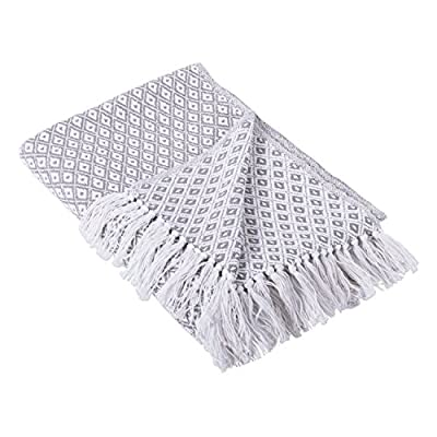 "DII Gray Mini Diamond Throw, - CONSTRUCTION - Throw measures 50 x 60"" made of 100% woven cotton with 2 5"" decorative fringe finish that won't unravel in wash QUALITY IN THE DETAILS - Old-fashioned look with a modern twist these blankets are durable and versatile An easy way to add color and texture to freshen your home for spring or warm it up in the winter FITS THE RUSTIC VINTAGE OR DISTRESSED LOOK - These throws have a very chic and trendy look throw over a couch chair or bed to add a splash of color and provide warmth on a cold night - blankets-throws, bedroom-sheets-comforters, bedroom - 513%2BThCWv3L. SS400  -"