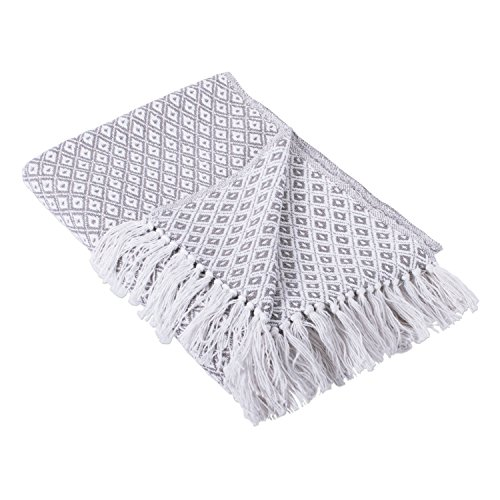"""513%2BThCWv3L - DII Rustic Farmhouse Cotton Diamond Blanket Throw with Fringe For Chair, Couch, Picnic, Camping, Beach, & Everyday Use , 50 x 60"""" - Mini Diamond Gray"""
