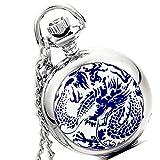 Lancardo Men's Quartz Vintage Blue Dragon Enamel Ceramic Steampunk Silver Pocket Watch with Gift Bag