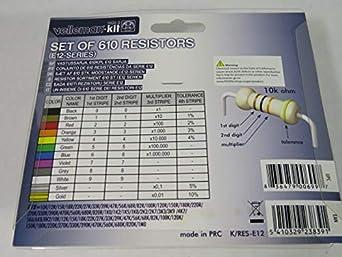 Velleman K//RES-E12 multicolore serie E12 Set di resistori