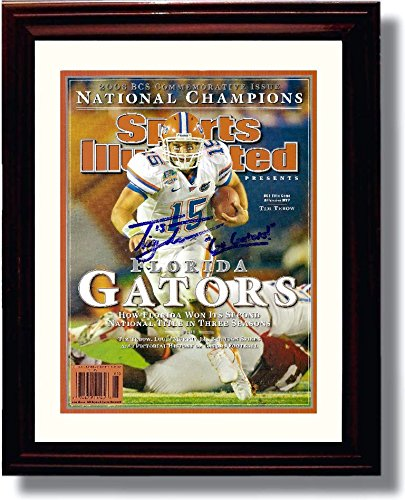 2008 Gator (Framed Tim Tebow 2008 National Champs Sports Illustrated Autograph Replica Print - Florida Gators - National Champs!)