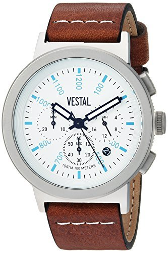 Vestal Quartz Stainless Steel and Leather Dress Watch Color:Brown (Model: SLR44CL04.LBWH) [並行輸入品] B078BGH9BR