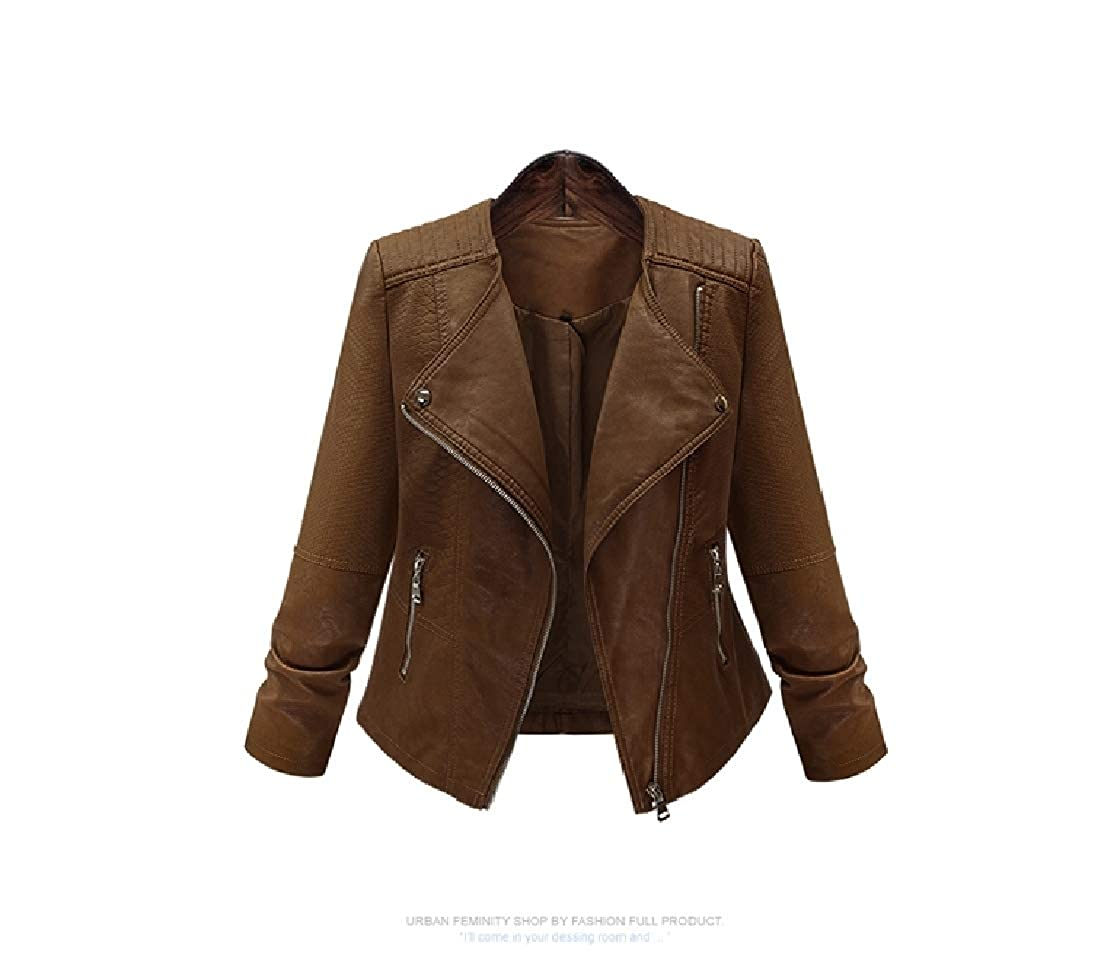 YUNY Women Plus Size Bodycon Motorcycle Full-Zip Jacket Trench Coat Coffee XL