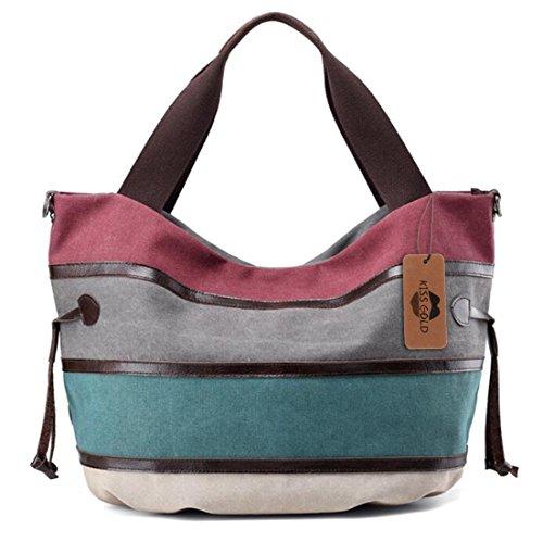 KISS GOLD(TM) Multi-color Canvas Hobo Bag Handbags Shoulder Bag Casual Tote Top Handle Bag for Women, Multi-Color-Burgundy by KISS GOLD