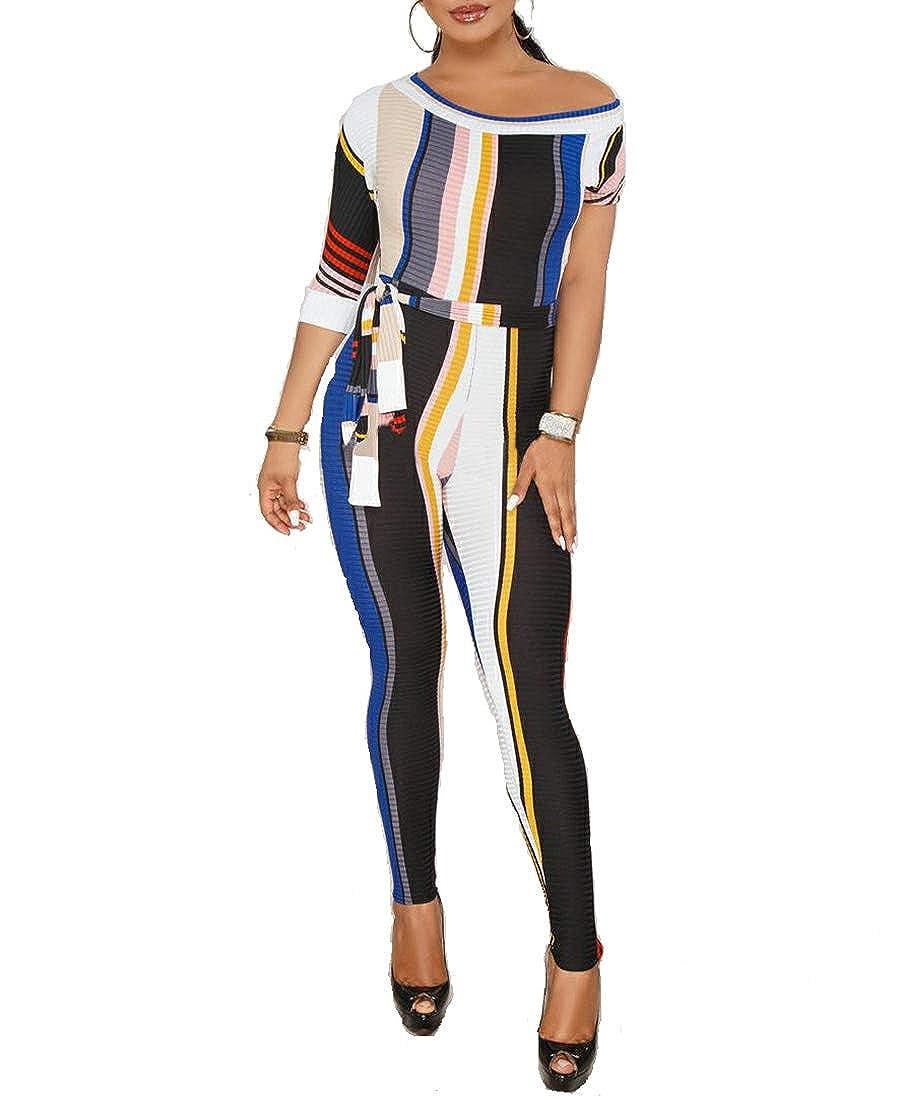 Katblink Womens Colorblock Clubwear Stripe Bodycon Long Jumpsuit Belt