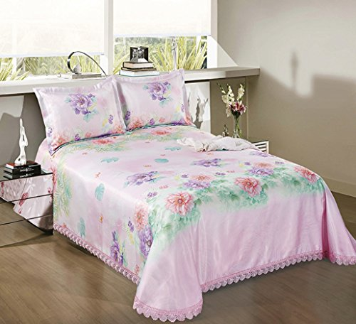 BEIRU Washed Mat Sheet Linen Printing Lace Ice Silk Mat Three Sets ZXCV (Color : 1, Size : 1.82m) by BEIRU