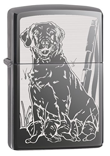 Zippo Custom Lighter: Hunting Dog with Ducks - Black Ice 78807