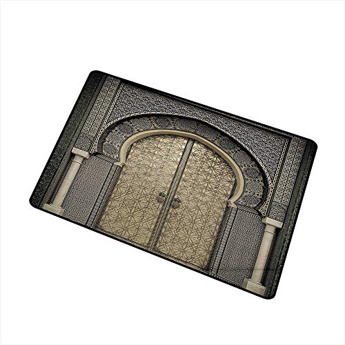 - Axbkl Washable Doormat Moroccan Decor Aged Gate Geometric Pattern Doorway Design Entrance Architectural Oriental Style W16 xL20 Easy to Clean Carpet