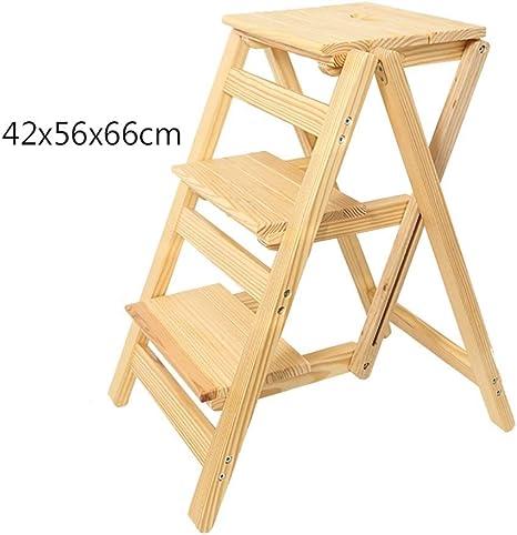 D-Z Taburete de la Silla Escaleras de 3 Escalones Taburete de Paso Escalera de Interior Escalera Pequeña Taburete de Paso de Madera Maciza/Silla Plegable Multifunción para Escaleras, Taburete 1: Amazon.es: Deportes y