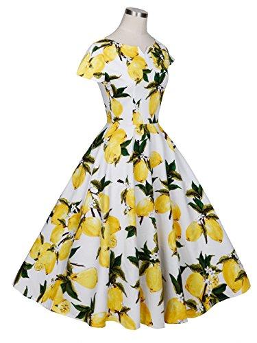 Rockabilly Vintage Mangas de Baile Amarillas Lunares 1950S COUPLE Frutas Vestido Blancas Cap FAIRY DRT019 qZxREtnY