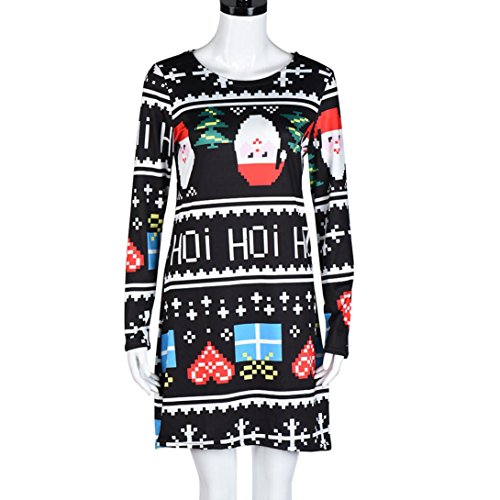 Kolylong Swing Dress Sleeve Lovely Xmas A Party Christmas Multicolor Dresses Long Print Women Ladies Flared TWBrxq4Wn