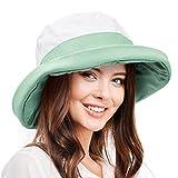 Women's Sun Hat Reversible Bucket Cap UPF 50+ Outdoor Travel Beach Hat Green
