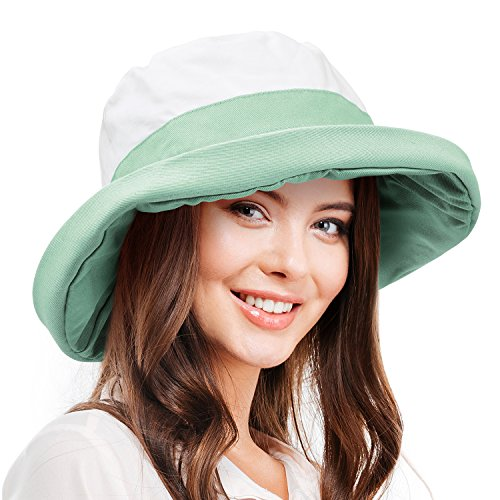 Women's Sun Hat Reversible Bucket Cap UPF 50+ Outdoor Travel Beach Hat Green by Sun Blocker