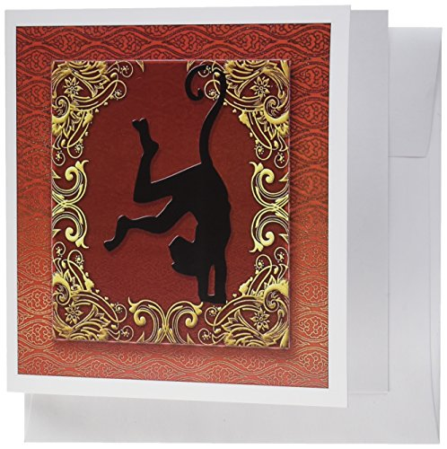 3dRose Chinese Zodiac Year of the Monkey Chinese New Year Red Gold and Black Greeting Cards, Set of 12 (gc_101848_2)