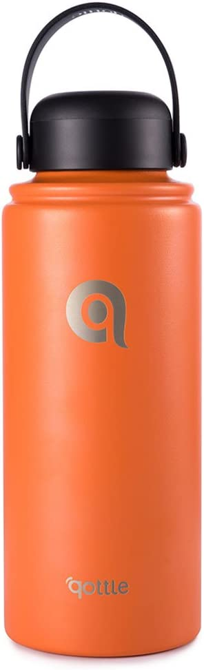 Qottle Stainless Steel Water Bottle, Wide Mouth Lids (32 oz), Vacuum Insulated with Double Wall Design, BPA free, Orange
