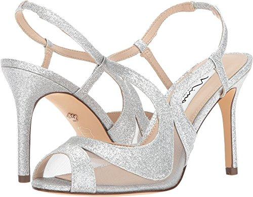 Nina Womens Slingback Shoes - Nina Women's Regina Silver/Silver Baby Glitter/Mesh 7 M US
