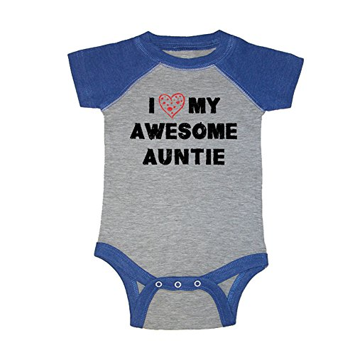 Mashed Clothing Unisex Baby - I Love My Awesome Auntie Baseball Baby Bodysuit (19 Colors Available) (Grey/Royal, 6 Months)