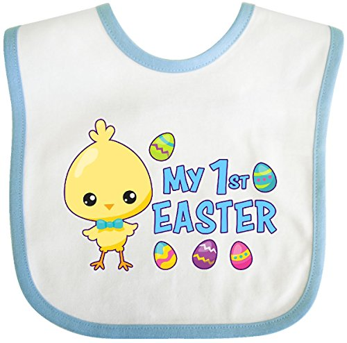 (Inktastic - My 1st Easter with Chick and Easter Eggs Baby Bib White/Blue 2eb40)