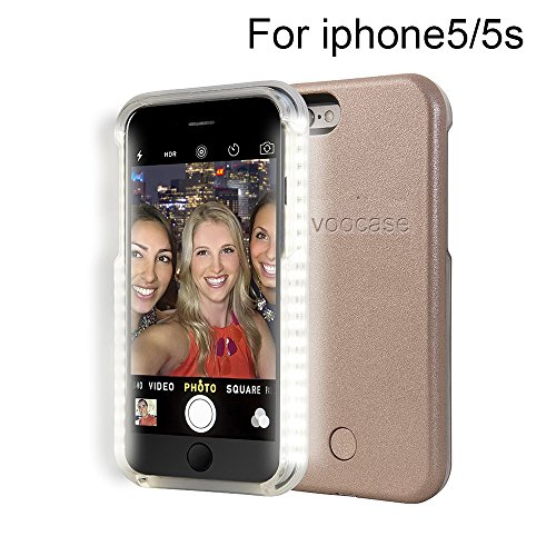 LED Light selfie Fill Light Luminous Illuminated Cell Phone Case Cover for iPhone 5 5s External Charger Battery Back Up Power Bank Rechargeable Power Case for iphone 5 5s (Rose Gold)