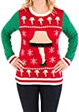 Festified Women's Leg Lamp Major Award Sweater (Red/Green) - Ugly Holiday Sweater (Medium)