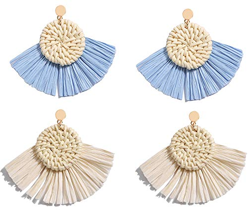 Allen&Danmi AD Jewelry Bohemia Style Spring Raffia Dangle Earrings Made with Woven Rattan for Women (2 Pairs-Light Blue and Creamy White, Alloy)