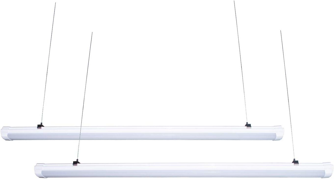 4ft LED Vapor Proof Light Fixture,2 Pack,40W 4500LM,5500K Daylight White LED Shop Light,for Walking Cooler and Walking Freezer,Garage Workshop,Warehouse,Car Wash, Warehouse, Barn, Auto Shop (2Pcs 4ft)