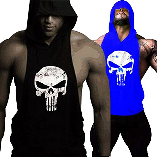 GZXISI Mens Skull Print Stringer Bodybuilding Gym Tank Tops Workout Fitness Vest (XX-Large, 2 Pack:Black Hoodie,Blue ()