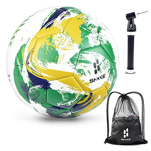 SHOKE Soccer Ball Size 5 Official Match Ball with Pump and Ball Bag, Professional FIFA Level,Thermal-Bonding Hold Air Water-Resistant, Rebound Height 55.11'' -57.08'', Can Customized ()