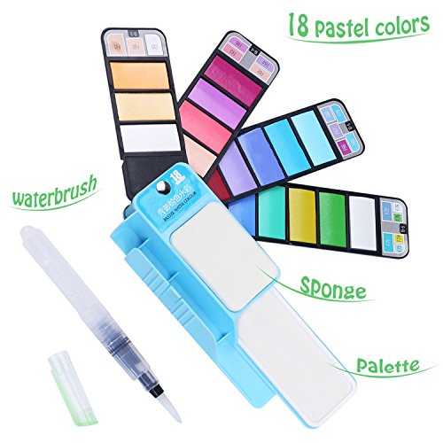 18 Pastel Color Travel Watercolor Set - Foldable & Portable Watercolor Paint Set - Nice Gift for Field Sketch Outdoor Painting