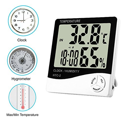Bloom Grow Hydroponics Digital Hygrometer Indoor Thermometer Humidity Monitor with Temperature Humidity Gauge for Indoor Plant Growing - 96' Reducer