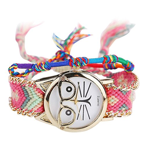Jvcat Women's Watches Braided Glasses Cat Bracelet Watch Fashion Women Faux Leather Quartz Analog Delicate Watch Watch Cute Watch Wind Chimes Pattern Quartz Watch Watches (C) (Collection Braided Belt)