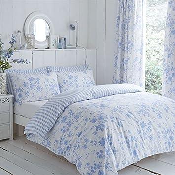 Blumen Schleierstoff Streifen Blau Weiss Einzel Bettwäsche Plissee