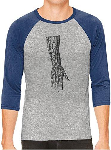Old Anatomy Arm Diagram Unisex 3/4 Contrast Sleeve Lightweight Baseball Tee, Navy Sleeves, - Diagram Of Arm