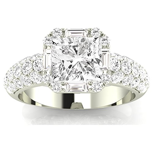 (2 Carat t.w. Platinum Cushion Modified Designer Popular Halo Style Baguette and Pave Set Round Diamond Engagement Ring I-J/SI1 Clarity Center Stones. )