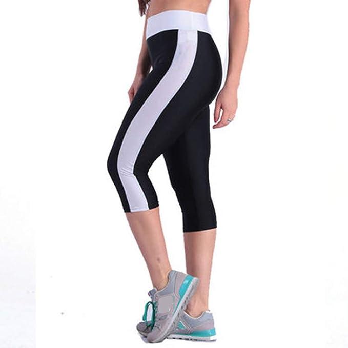 Morbuy Femme Pantalons Courts 3 4 Yoga Legging de Sport Elastiques Fitness  Gym Jogging Pilates Legging Genou Longueur Casual Eté Confortable Mode  Grande ... ab57bb3fc05b