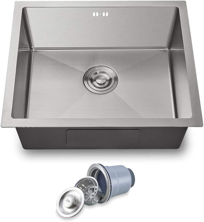 Undermount Kitchen Sink, 21 inch Stainless Steel Single Bowl Laundry, Utility and Kitchen Sink with Overflow 21LX18WX10H