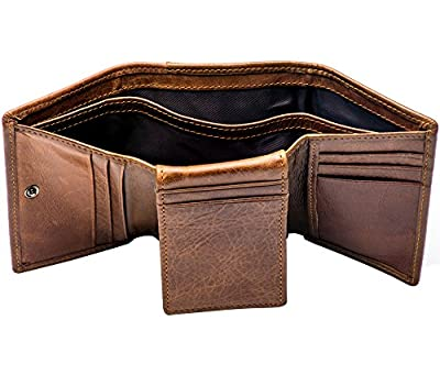 Men's Wallets Tri-fold RFID Blocking Extra Capacity Flip Out Genuine Leather 2 ID COWFEX