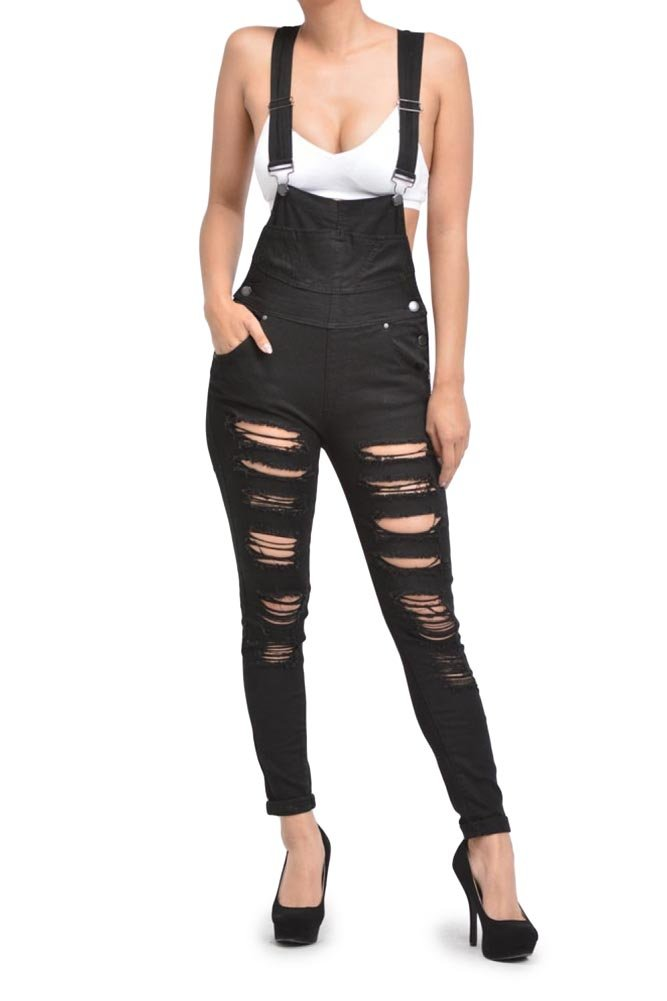 G-Style USA Women's Destroyed Skinny Overalls RJHO424 - Black - 3X-Large - C7C