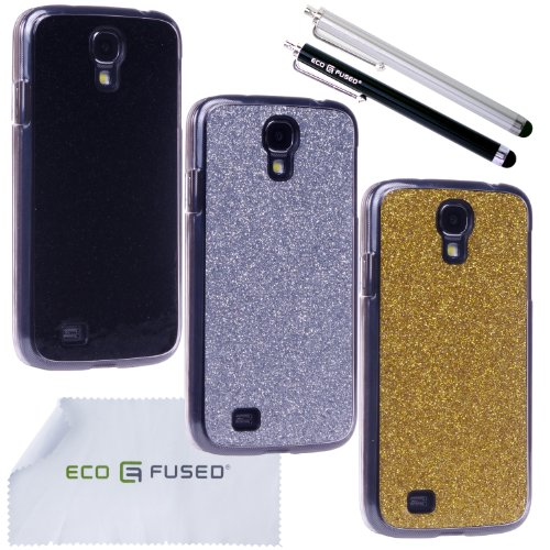 Eco-Fused-Case-Bundle-for-Samsung-Galaxy-S4-i9500-including-3-Bling-Glitter-Hard-Covers-with-Transparent-Sides-4-Stylus-Pens-2-Screen-Protectors-Microfiber-Cleaning-Cloth