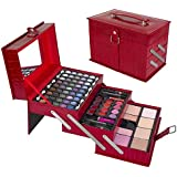 """All In One Makeup Kit –  Eyeshadow, Blushes, Powder, Lipstick & More –  Highly Fashionable Red Leather Look Train Case 6"""" (Diagonal) Application Mirror –  Good for Beginners & Makeup Lovers"""