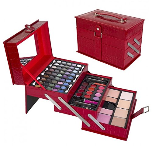 "Vibrant Red Leather - All In One Makeup Kit –  Eyeshadow, Blushes, Powder, Lipstick & More –  Highly Fashionable Red Leather Look Train Case 6"" (Diagonal) Application Mirror –  Good for Beginners & Makeup Lovers"